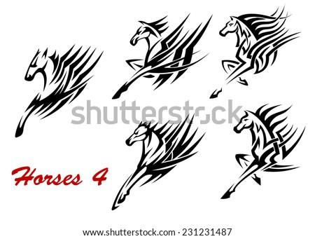tribal horse black red version tattoo stock illustration 105590717 shutterstock. Black Bedroom Furniture Sets. Home Design Ideas