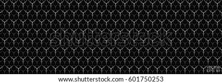 Black and White Geometric Cellular Pattern. Abstract Monochrome Grid with Hexagon. Graphic Style for Print. Vector. 3D Illustration