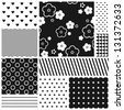 Black and white geometric seamless patterns set (vector version) - stock vector
