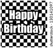 Black and white Happy Birthday card - stock photo