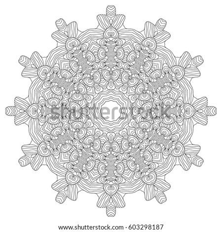 Black And White Hexagonal Ethnic Pattern Tribal Zen Tangle Adult Coloring Book Mandala