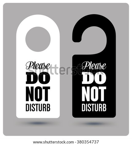 Black and White Hotel Door Hanger Tags, Messages -  Please Do Not Disturb Sign