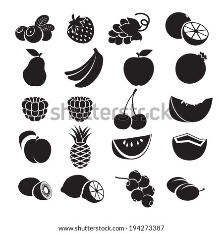 Black and white icons - fruits and berries.