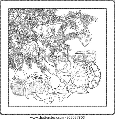 black and white illustration of christmas tree presents and playful cat coloring page