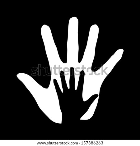 Black-and-white illustration of hand in hand. Concept of help, assistance and cooperation.