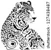 Black and white jaguar vector - stock photo