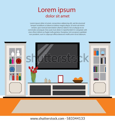 Black And White Living Room With Tv Stand Bookcase Vector Card