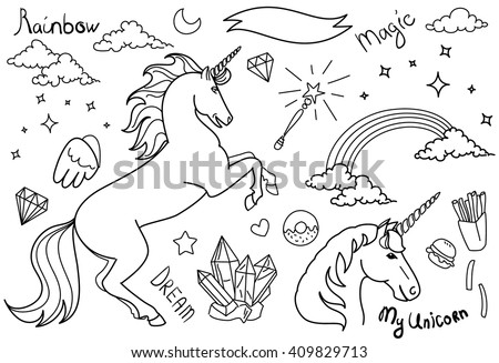 Black and White Magic collection with unicorns, rainbow, stars and crystals