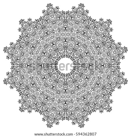 Black And White Mandala Pattern Adult Coloring Book Round Ethnic Motif Filigreed Lacy