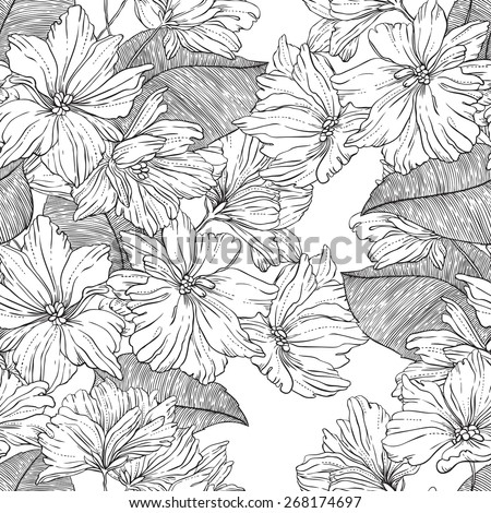 black and white monochrome hand drawn abstract flowers and leaves in vintage style - vector digital artwork - seamless pattern for textiles, packaging, paper