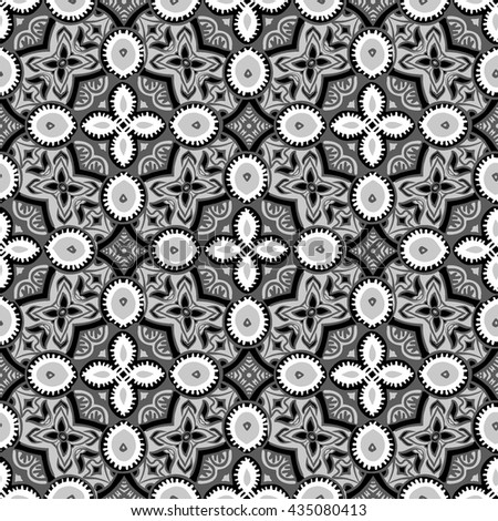 black and white moroccan seamless tile pattern