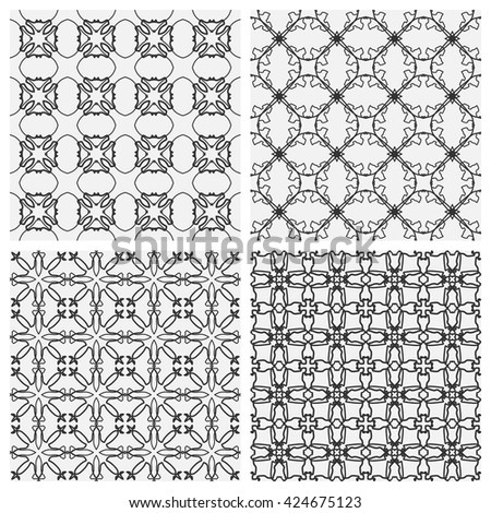 Black and white seamless line patterns. Tribal ethnic ornament in arabic style. Endless texture for wallpaper, pattern fills, web page background, surface textures. Monochrome geometric backgrounds