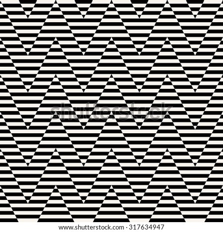 black and white seamless optical illusion chevron pattern.