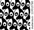 Black and white seamless pattern made of stylized faces. - stock vector