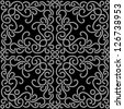Black and white seamless pattern, vector dotted swirls - stock vector