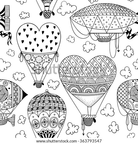 black and white seamless pattern with aerostat air balloon airship clouds hearts - Coloring Book Paper Stock