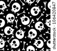 Black and white seamless pattern with skulls and hearts. EPS 8 vector illustration. - stock vector