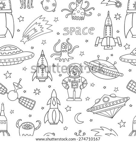 Black and white seamless pattern with space objects: ufo, rockets, aliens. Hand-drawn elements in space theme for UFO Day
