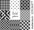 Black and white seamless patterns collection, vector - stock vector