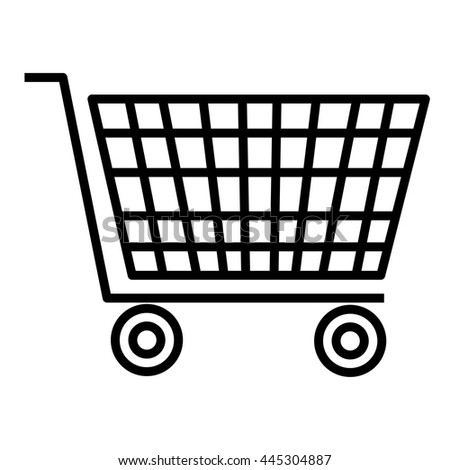 black and white shopping cart side view over isolated background, vector illustration