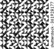 Black and white sponge print triangles geometric grunge seamless pattern, vector - stock photo