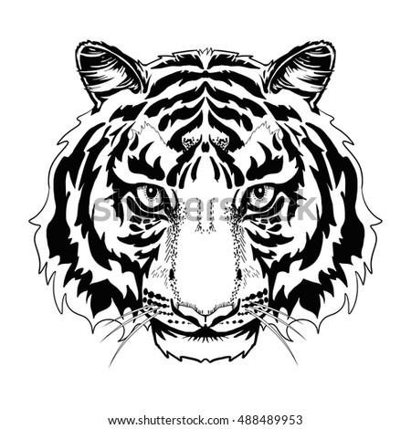 Black White Tiger Head Lineart Tattoo Stock Vector