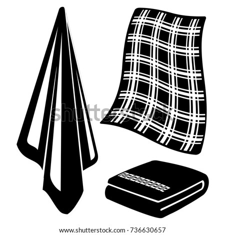 black and white towels isolated on white background vector