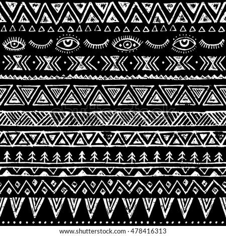 Aztec Tribal Seamless ... Black And White Tribal Print Wallpaper