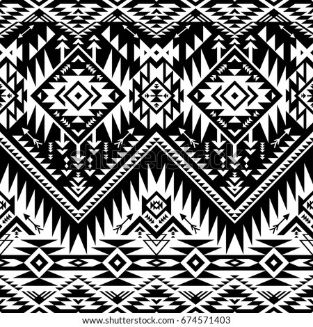 seamless black white aztec print pattern stock vector
