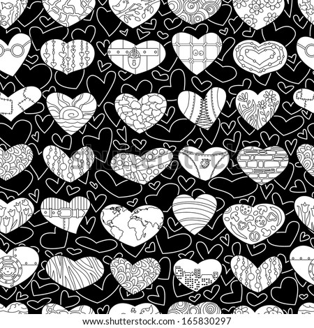 Black and white valentine's seamless background
