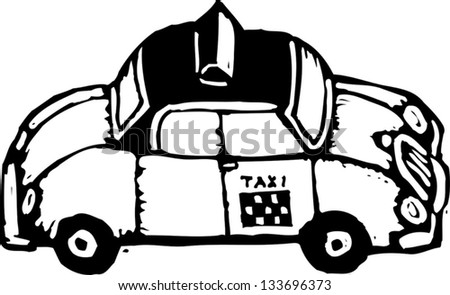 Black and white vector illustration of a taxi cab