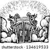 Black and white vector illustration of Heaven's Gates - stock photo