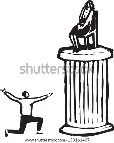Black and white vector illustration of man worshiping woman on pedestal