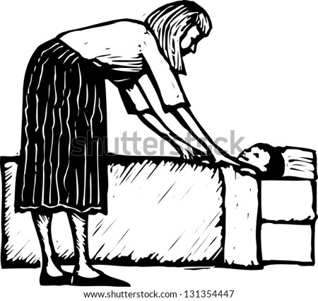 Black and white vector illustration of mother tucking in child at bedtime
