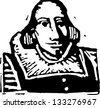 Black and white vector illustration of William Shakespeare - stock photo