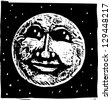 Black and white villustration of a full moon - stock photo