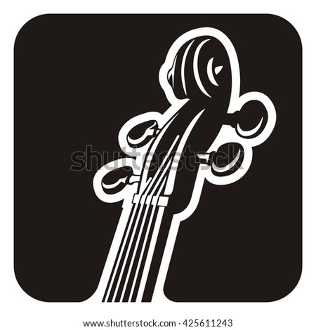 Black and white violin detail icon.