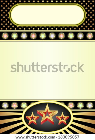 black and yellow background with neon and stars
