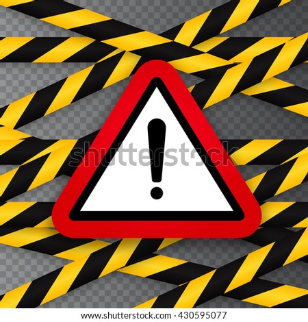 Black and yellow caution striped tapes with red hazard warning attention sign on black background. Vector.