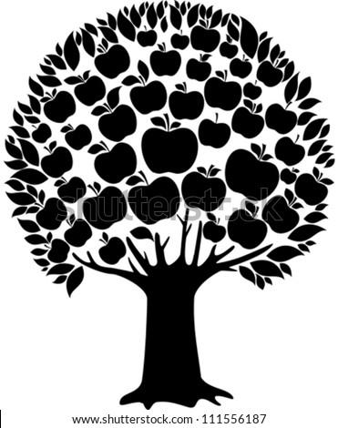 vector apple tree apple on white stock vector 82497217 - shutterstock