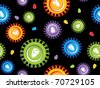 black background with colorful hiv virus pattern, vector illustration - stock photo