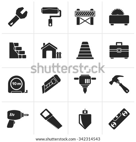 Black Building and construction icons - vector icon set