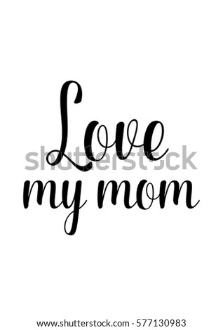 Love You Hand Lettered Quote Modern Stock Vector 555153361