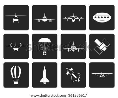 Black different types of Aircraft Illustrations and icons - Vector icon set 2