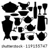 Black dishes silhouettes set isolated on white - stock vector