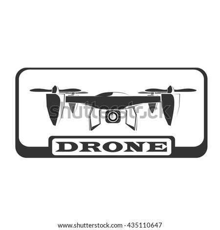 Black Drone Icon In Rectangle With Text Emblem Vector Illustration White Circle Element Sign