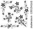 Black flowers vector set, leaves - stock vector