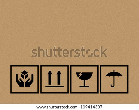 Black fragile symbol on cardboard - Vector