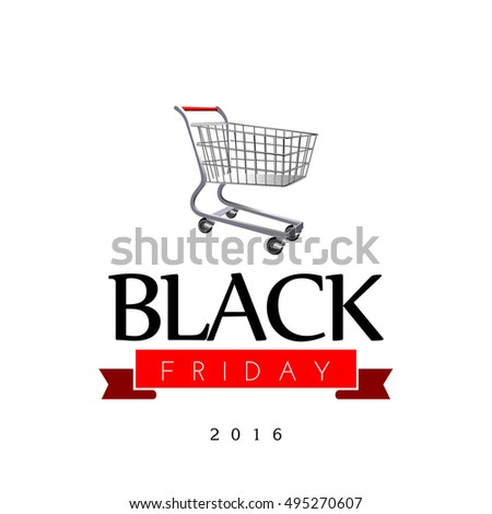 Black friday banner with a shopping cart, Vector illustration