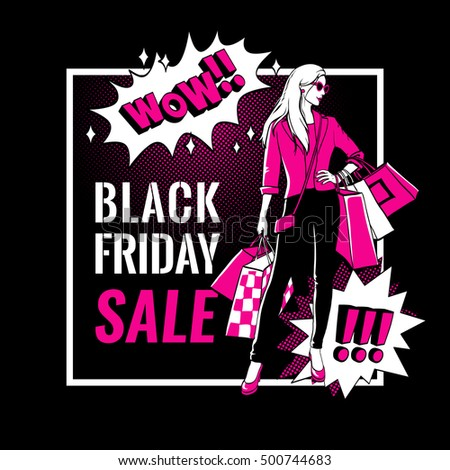Black Friday sale banner. Girl with shopping bags. Comic bubbles. Vector illustration.